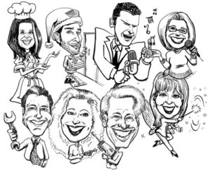 caricatures, corporate, black & white caricature, promotion