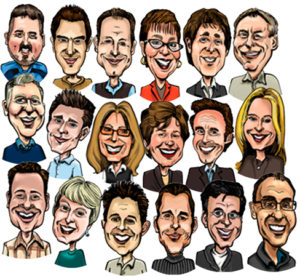 caricatures, corporate, colour caricature, promotion