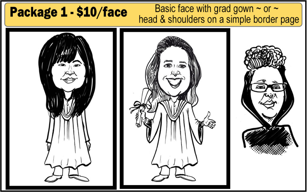 Basic face with a grad gown - OR - face only with neck and shoulders