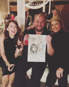 party caricatures, party art, event sketches, Tamara Taggart, Jillian Harris, celebrities