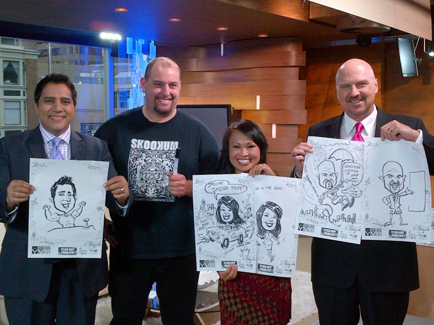 party caricatures, party art, event sketches, local celebrities, Global News, YVR