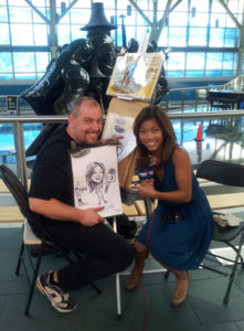 party caricatures, party art, event sketches, celebrities, Sophie Lui, YVR