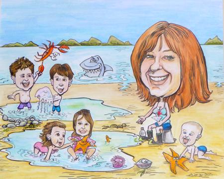 GiGi-&-kids-at-the-Beach